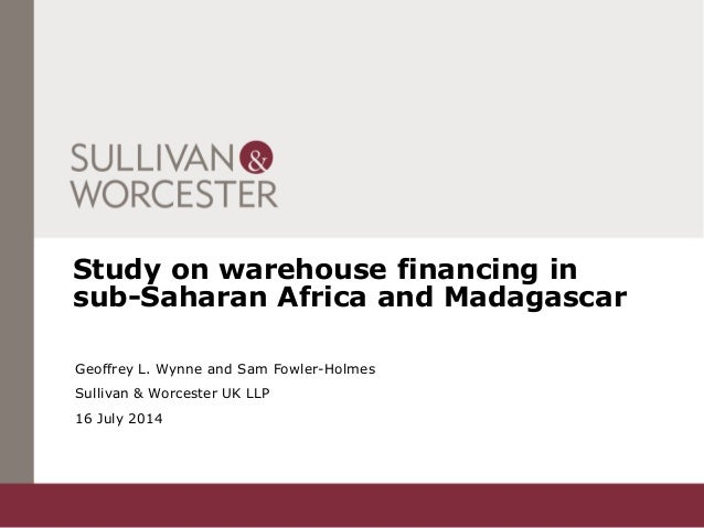 Study on warehouse financing in sub-Saharan Africa and Madagascar