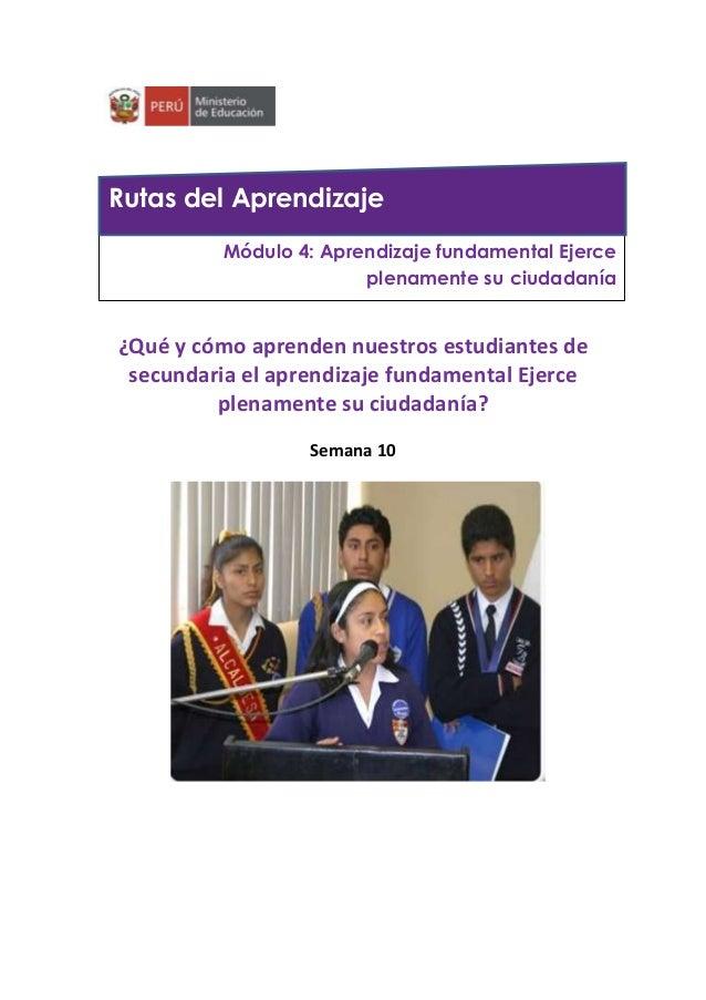 ¿Qué y cómo aprenden nuestros estudiantes de secundaria el aprendizaje fundamental Ejerce plenamente su ciudadanía? Semana...
