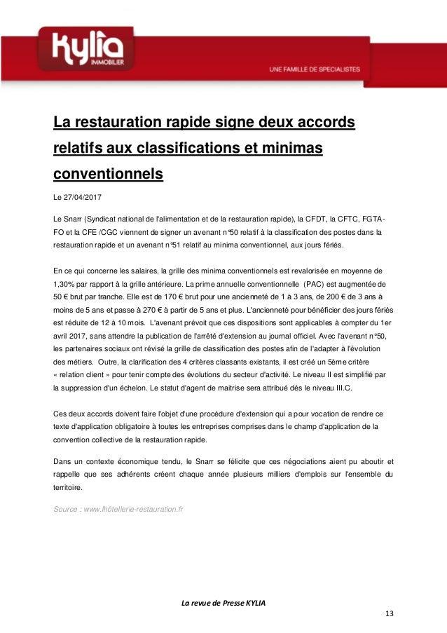 S18 revue de presse kylia semaine du 24 au 30 avril 2017 - Grille de classification des salaires ...