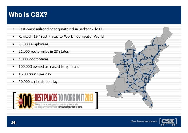 """• East coast railroad headquartered in Jacksonville FL • Ranked #19 """"Best Places to Work"""" Computer World • 31,000 employee..."""