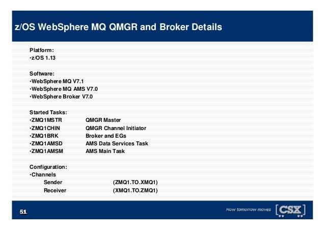 5151515151515151 Platform: •z/OS 1.13 Software: •WebSphere MQ V7.1 •WebSphere MQ AMS V7.0 •WebSphere Broker V7.0 Started T...