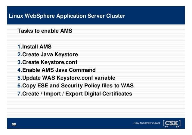 5858585858585858 Tasks to enable AMS 1.Install AMS 2.Create Java Keystore 3.Create Keystore.conf 4.Enable AMS Java Command...