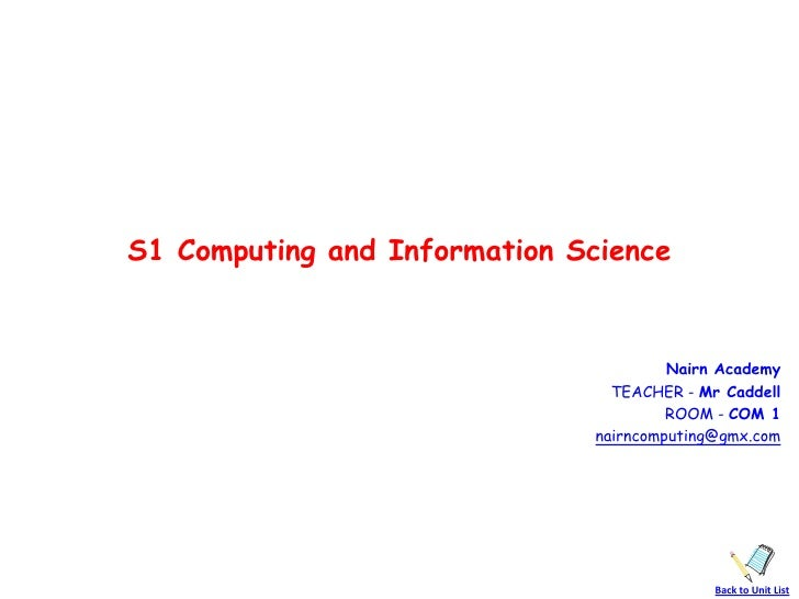 Mr CaddellS1 Computing and Information Science                                       Nairn Academy                        ...