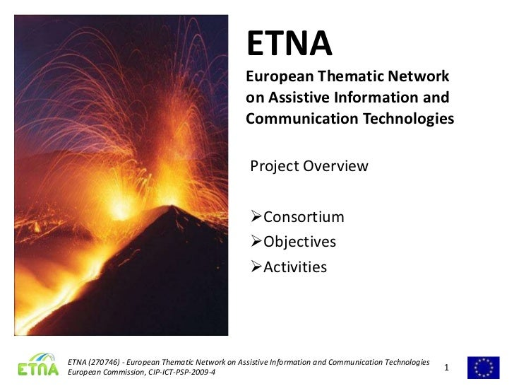 ETNA European Thematic Network on Assistive Information and Communication Technologies <ul><li>Project Overview </li></ul>...