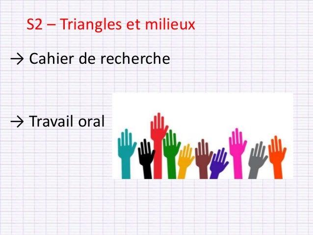 → Cahier de recherche → Travail oral S2 – Triangles et milieux