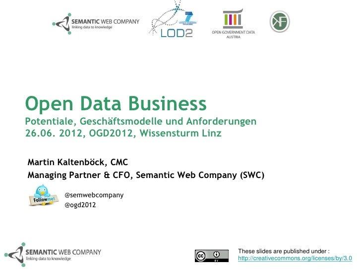 Open Data BusinessPotentiale, Geschäftsmodelle und Anforderungen26.06. 2012, OGD2012, Wissensturm LinzMartin Kaltenböck, C...
