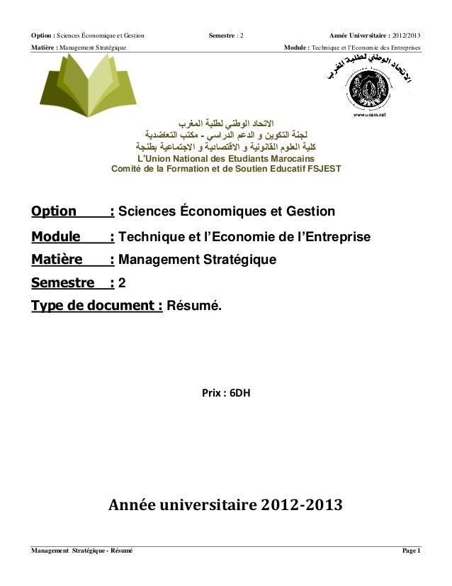 Option : Sciences Économique et Gestion Semestre : 2 Année Universitaire : 2012/2013 Matière : Management Stratégique Modu...
