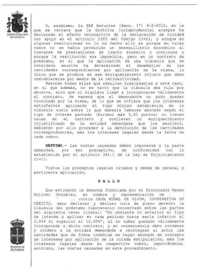 Nulidad de cl usula suelo con retroactividad a empresario for Clausula suelo asturias