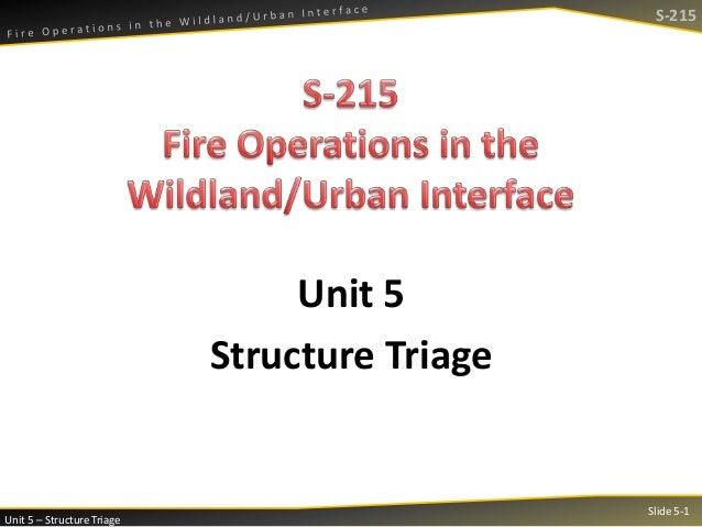 S-215  Unit 5 Structure Triage  Unit 5 – Structure Triage  Slide 5-1