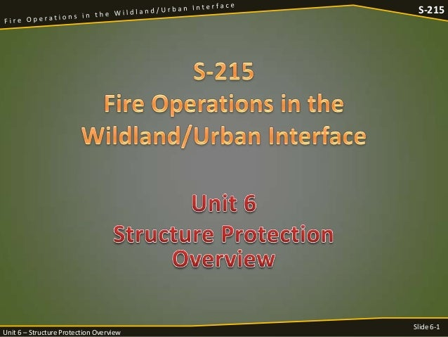 S-215  Unit 6 – Structure Protection Overview  Slide 6-1