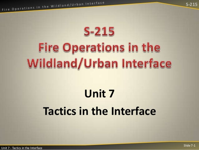 S-215  Unit 7 Tactics in the Interface Unit 7 - Tactics in the Interface  Slide 7-1