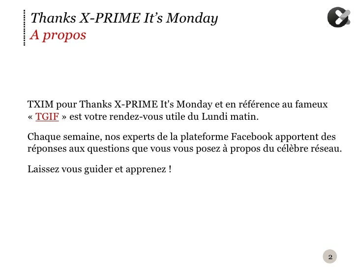 TXIM : Facebook offers et page post Slide 2