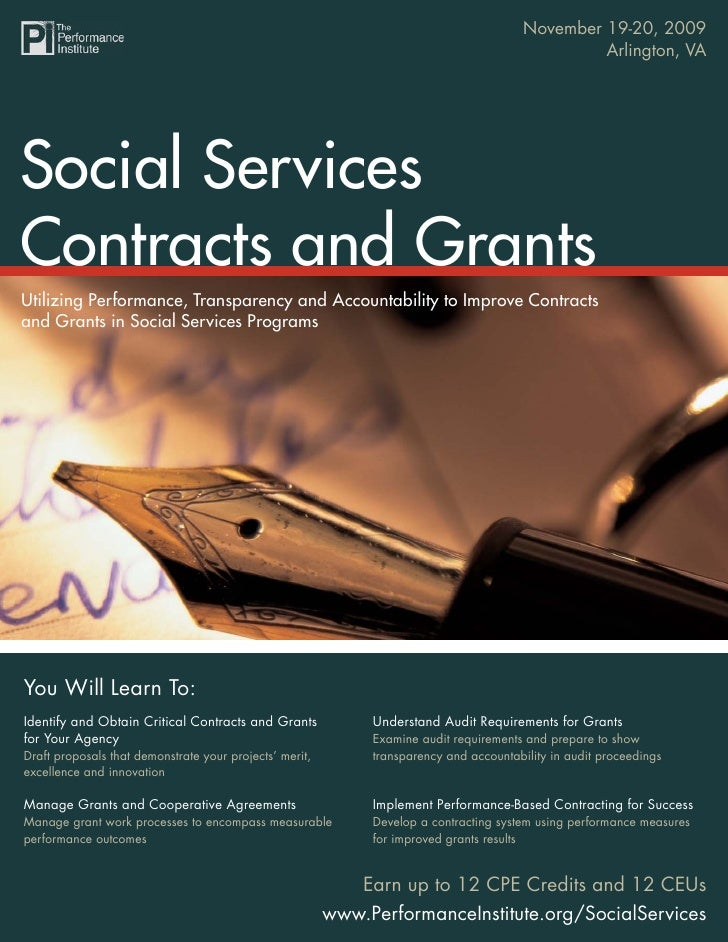 November 19-20, 2009                                    Social Services Contracts and Grants                              ...