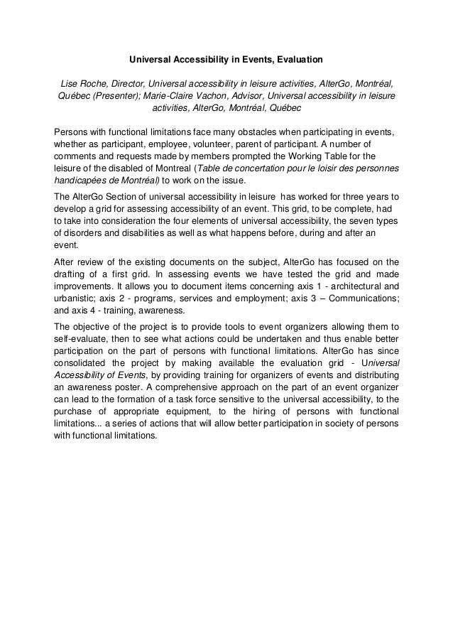 Universal Accessibility in Events, Evaluation Lise Roche, Director, Universal accessibility in leisure activities, AlterGo...