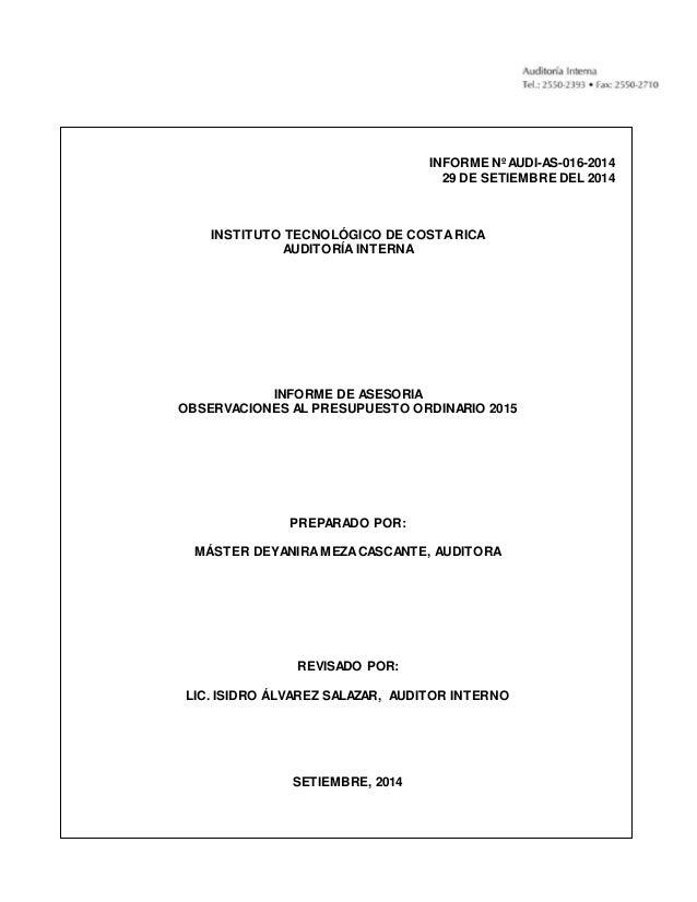 Plan Anual Operativo Y Presupuesto Ordinario 2015