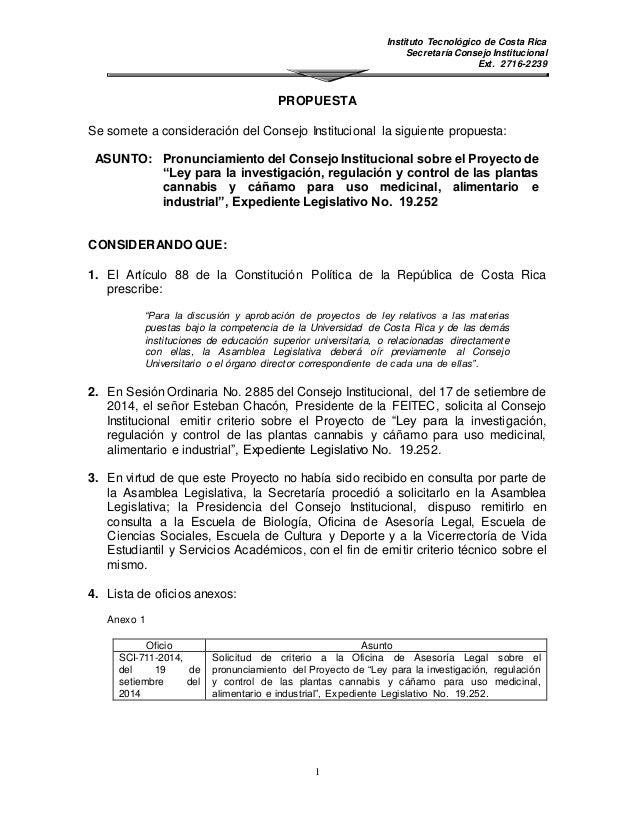 Instituto Tecnológico de Costa Rica  Secretaría Consejo Institucional  Ext. 2716-2239  PROPUESTA  Se somete a consideració...