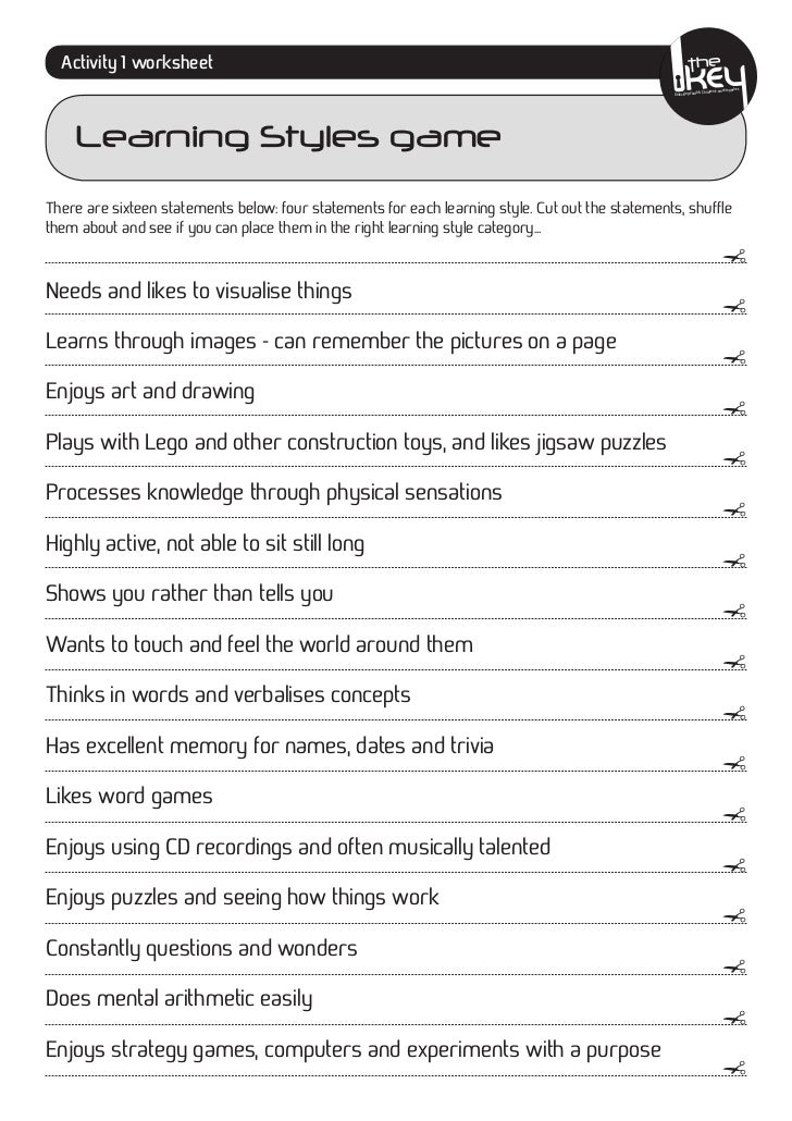 photograph relating to Learning Styles Inventory Printable known as Studying Types game with solutions
