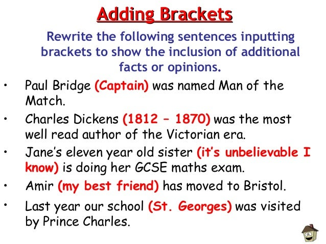 how to use brackets in a sentence examples