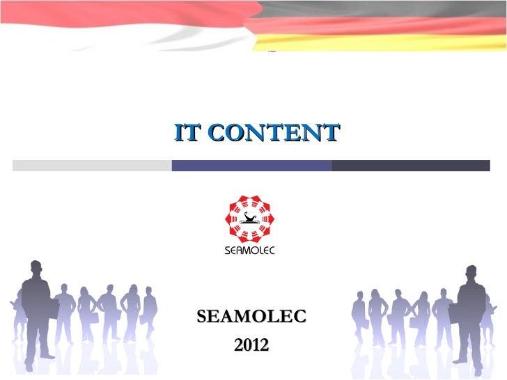 IT CONTENT SEAMOLEC 2012