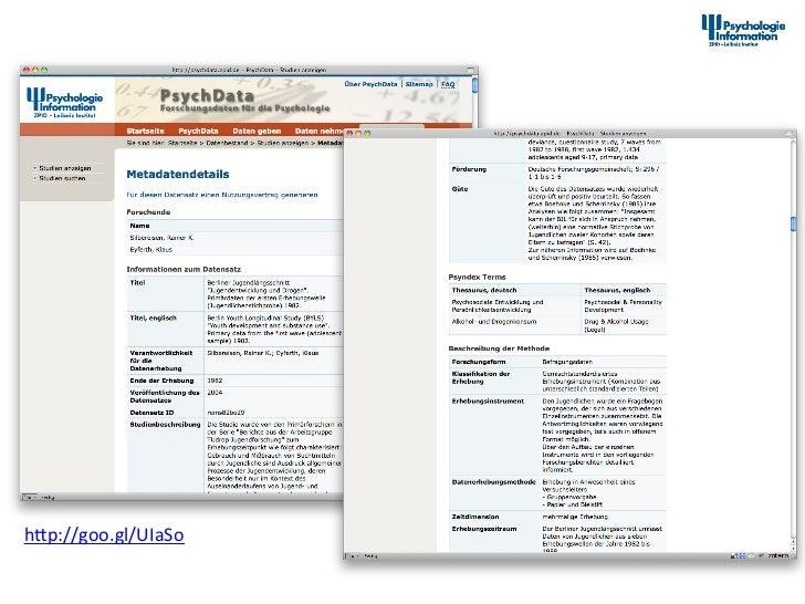 Studienbeschreibung in PsychData  hap://goo.gl/UIaSo                          12th Interna+onal Symposium ...