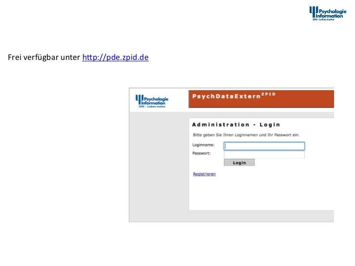 PsychData Dokumenta2onstool Frei verfügbar unter hap://pde.zpid.de                            12th Interna...