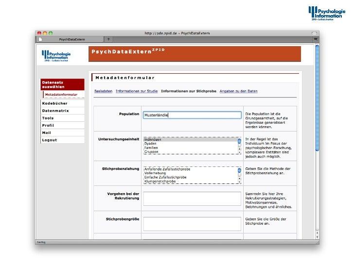 Dokumenta2onstool – Erfassung von Metadaten II                      12th Interna+onal Symposium of  ...