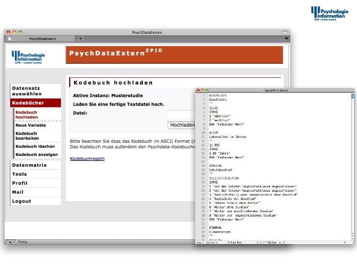 Dokumenta2onstool – Kodebuch hochladen                    12th Interna+onal Symposium of  Informa+on S...