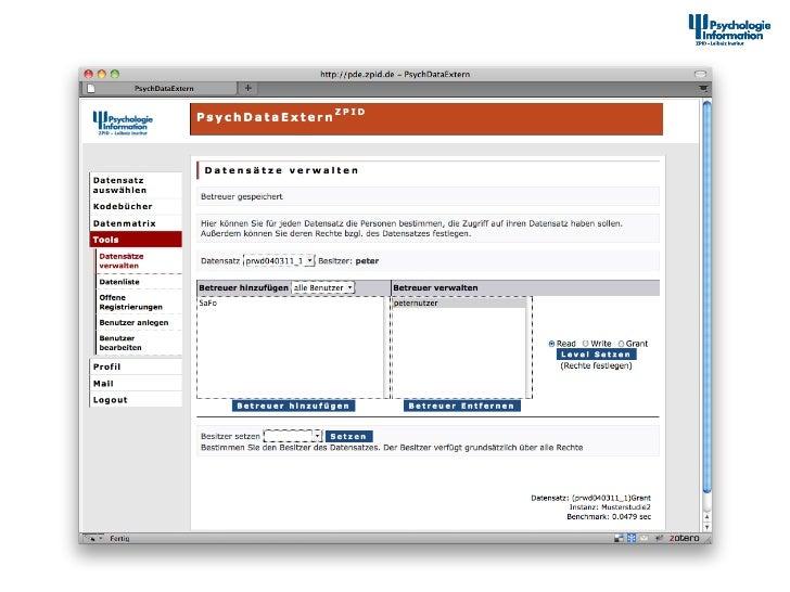 Dokumenta2onstool – Datensätze für andere Nutzer freigeben                      12th Interna+onal Sympos...
