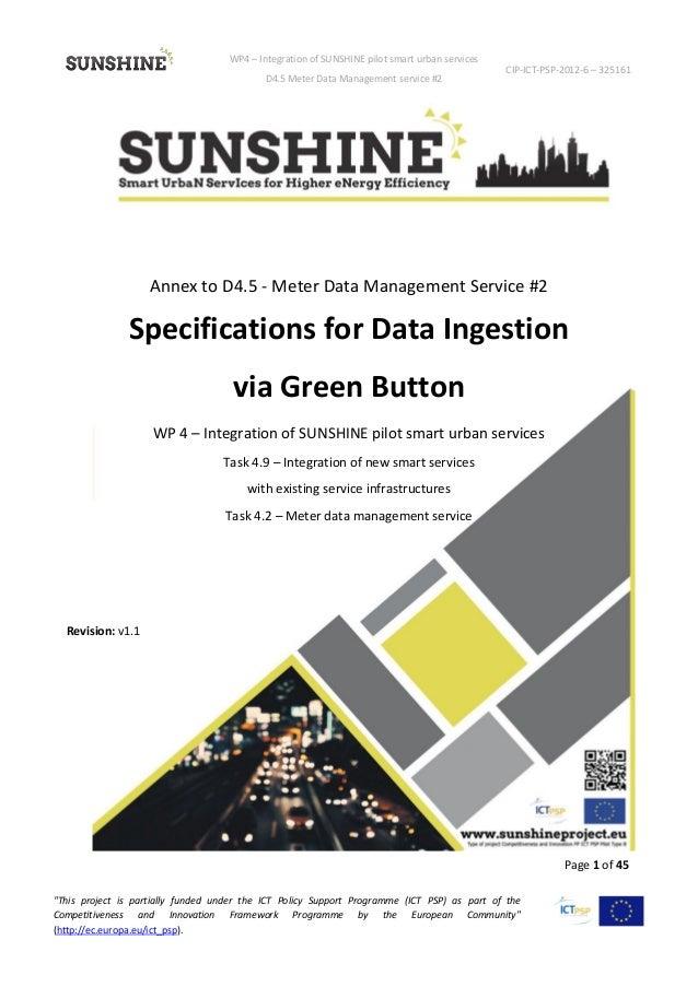 WP4 – Integration of SUNSHINE pilot smart urban services D4.5 Meter Data Management service #2 CIP-ICT-PSP-2012-6 – 325161...