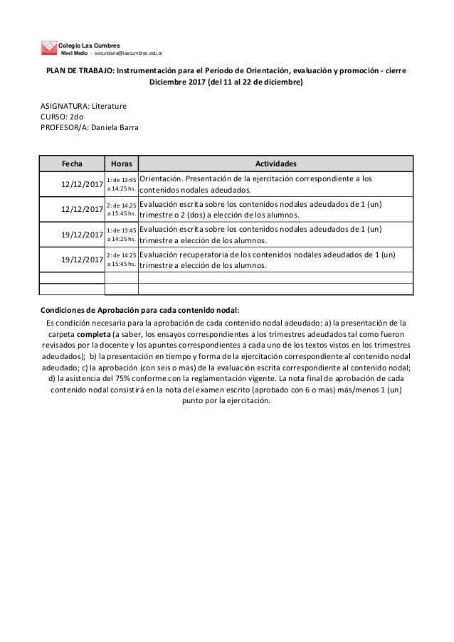 Colegio Las Cumbres Nivel Medio - secundaria@lascumbres.edu.ar ASIGNATURA: Literature CURSO: 2do PROFESOR/A: Daniela Barra...