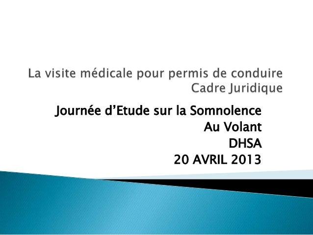 Journée d'Etude sur la SomnolenceAu VolantDHSA20 AVRIL 2013