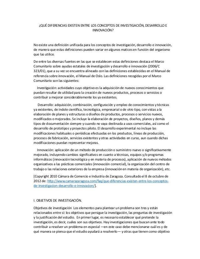 ¿QUÉ DIFERENCIAS EXISTEN ENTRE LOS CONCEPTOS DE INVESTIGACIÓN, DESARROLLO E                                   INNOVACIÓN?N...