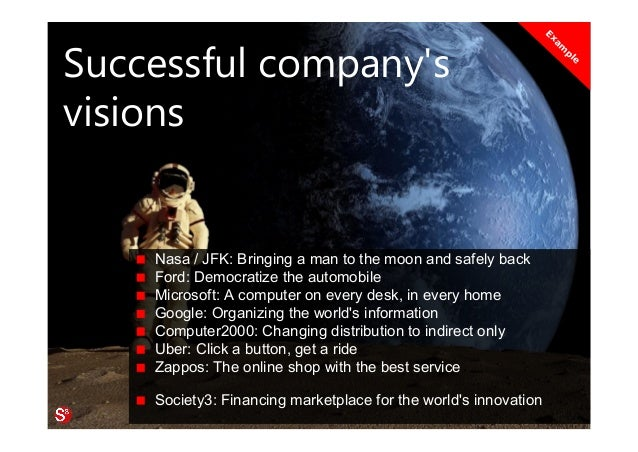 14© Copyright Society3 Refugee Accelerator 2016 #Society3 Successful company's visions Nasa / JFK: Bringing a man to the m...