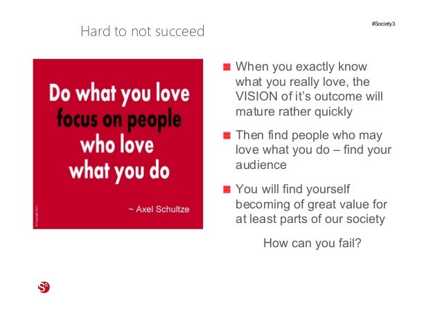 3© Copyright Society3 Refugee Accelerator 2016 #Society3 Hard to not succeed When you exactly know what you really love, t...