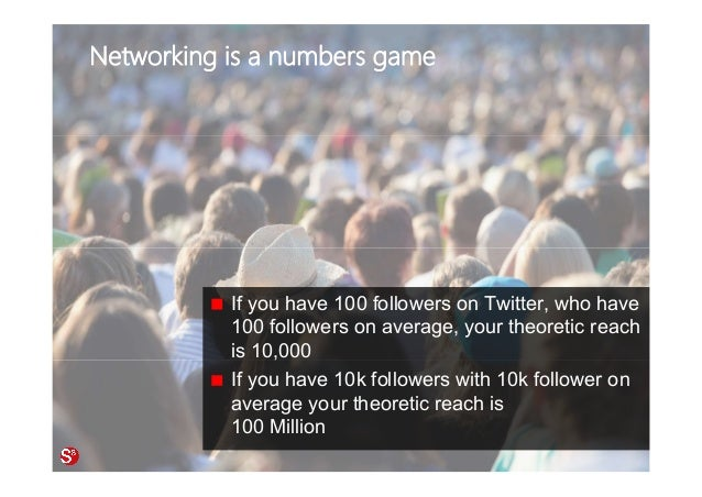 73© Copyright Society3 Refugee Accelerator 2016 #Society3 Networking is a numbers game If you have 100 followers on Twitte...