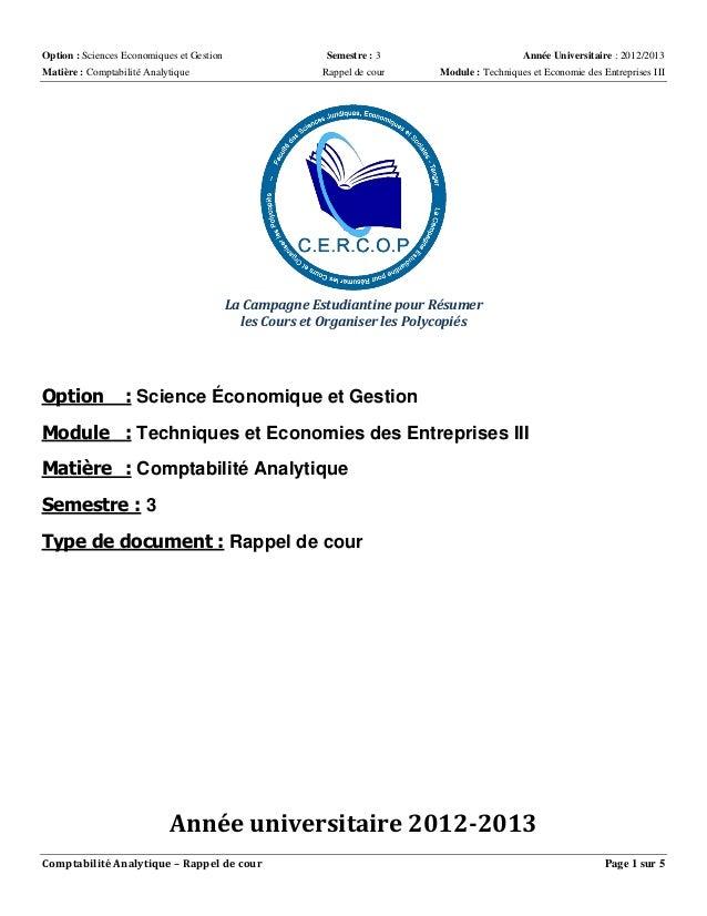 Option : Sciences Economiques et Gestion Semestre : 3 Année Universitaire : 2012/2013  Matière : Comptabilité Analytique R...