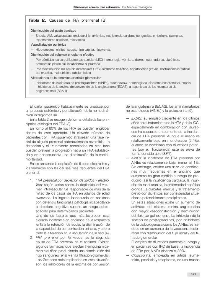 Situaciones clínicas más relevantes. Insuficiencia renal aguda  Tabla 2. Causas de IRA prerrenal (8)   Disminución del gas...