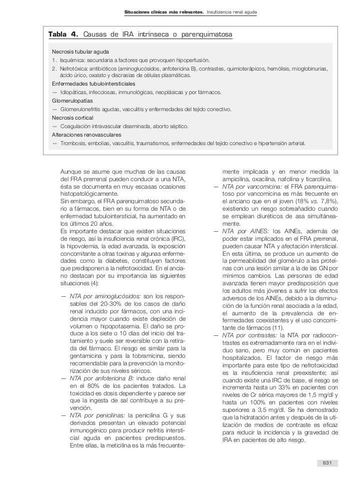Situaciones clínicas más relevantes. Insuficiencia renal agudaTabla 4. Causas de IRA intrínseca o parenquimatosaNecrosis t...