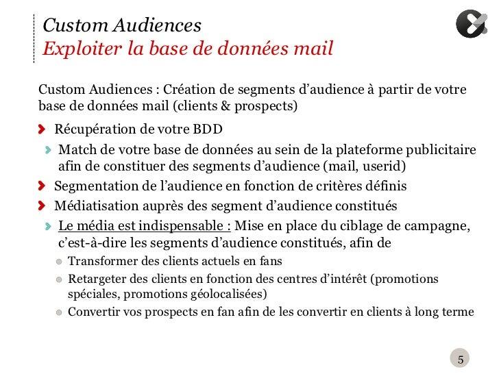 Custom AudiencesExploiter la base de données mailC ustom Audiences : Création de segments d'audience à partir de votrebas...
