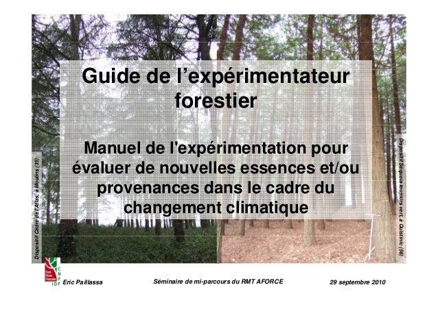 Eric Paillassa Séminaire de mi-parcours du RMT AFORCE 29 septembre 2010  Dispositif Cèdre de l'Atlas, à Moulins (35)  Disp...