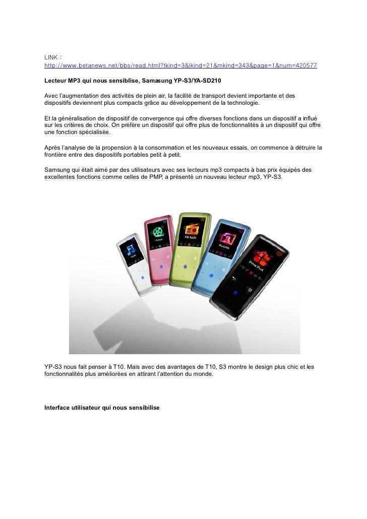 LINK : http://www.betanews.net/bbs/read.html?tkind=3&lkind=21&mkind=343&page=1&num=420577  Lecteur MP3 qui nous sensiblise...