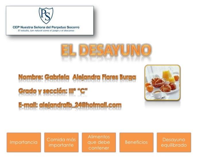 Alimentos               Comida más                              Desayuno Importancia                 que debe    Beneficio...