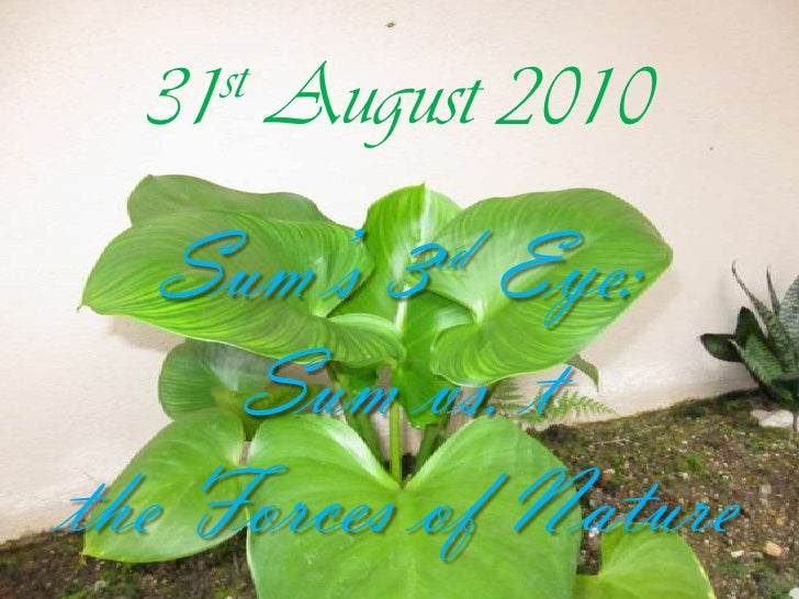 31st August 2010<br />Sum's 3rd Eye:<br />Sum vs. t<br />the Forces of Nature<br />