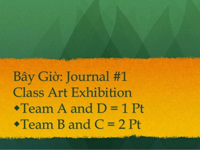 Bây Giờ: Journal #1Class Art ExhibitionTeam A and D = 1 PtTeam B and C = 2 Pt