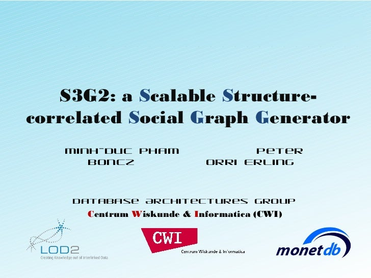 S3G2: a Scalable Structure-correlated Social Graph Generator   Minh-Duc Pham                 Peter      Boncz             ...