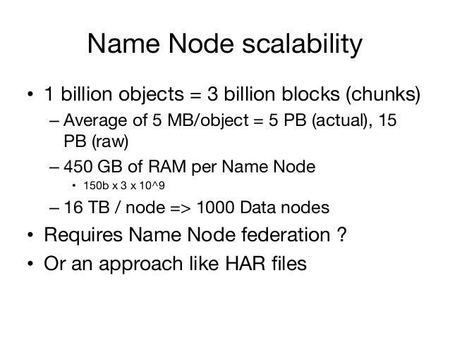 Name Node scalability• 1 billion objects = 3 billion blocks (chunks)  – Average of 5 MB/object = 5 PB (actual), 15     P...