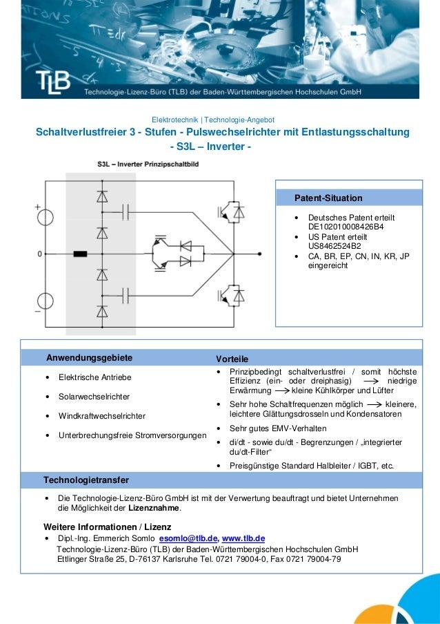 Elektrotechnik | Technologie-Angebot  Schaltverlustfreier 3 - Stufen - Pulswechselrichter mit Entlastungsschaltung - S3L –...