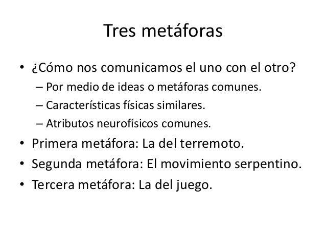 Tres metáforas• ¿Cómo nos comunicamos el uno con el otro?  – Por medio de ideas o metáforas comunes.  – Características fí...