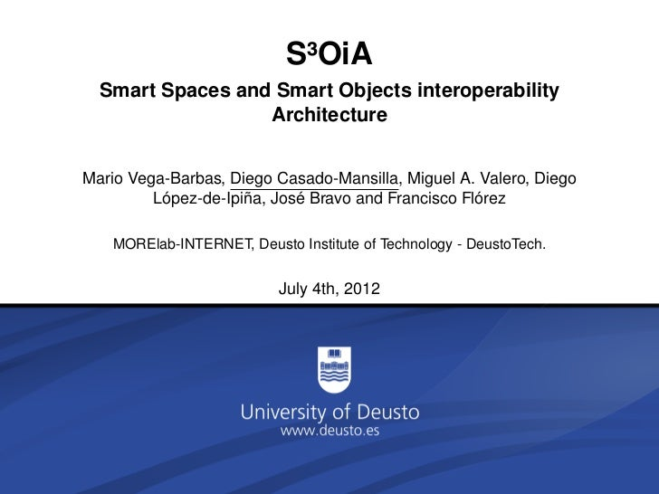 S³OiA  Smart Spaces and Smart Objects interoperability                  ArchitectureMario Vega-Barbas, Diego Casado-Mansil...