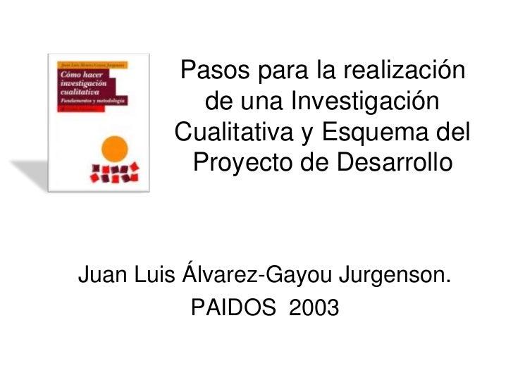 Pasos para la realización          de una Investigación        Cualitativa y Esquema del         Proyecto de DesarrolloJua...